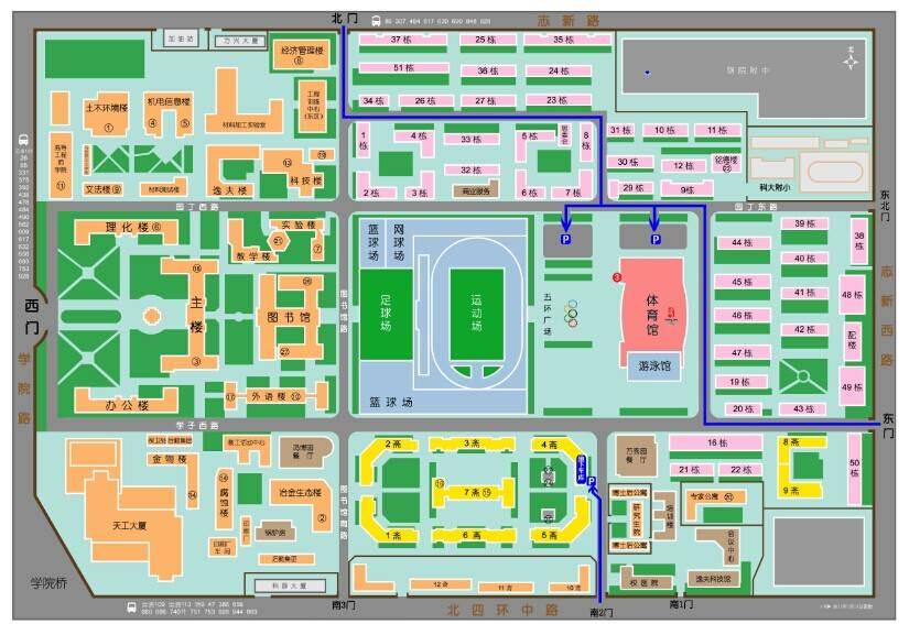 北京科技大学校园平面及车辆流线图   步行到达体育馆3号门线路图:   图片