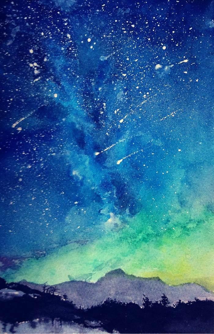 用画笔晕染一片星空