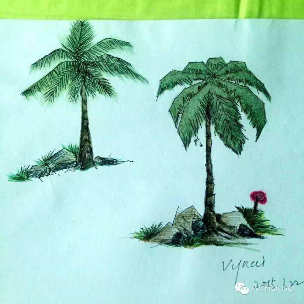 树彩铅画法步骤图