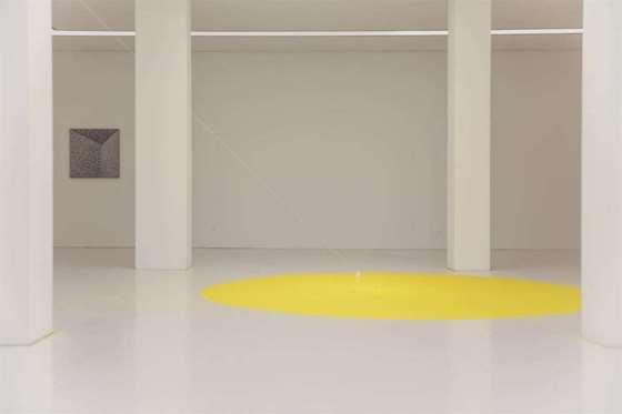 寂静因恐惧而有引力, Gravity 2002, 磁铁、黄色沙、针、铁球、线,Magnet, Yellow Sand, Needle, Iron ball, String,尺寸可变,Dimensions Variable ,2018, 郝经芳&王令杰.jpg