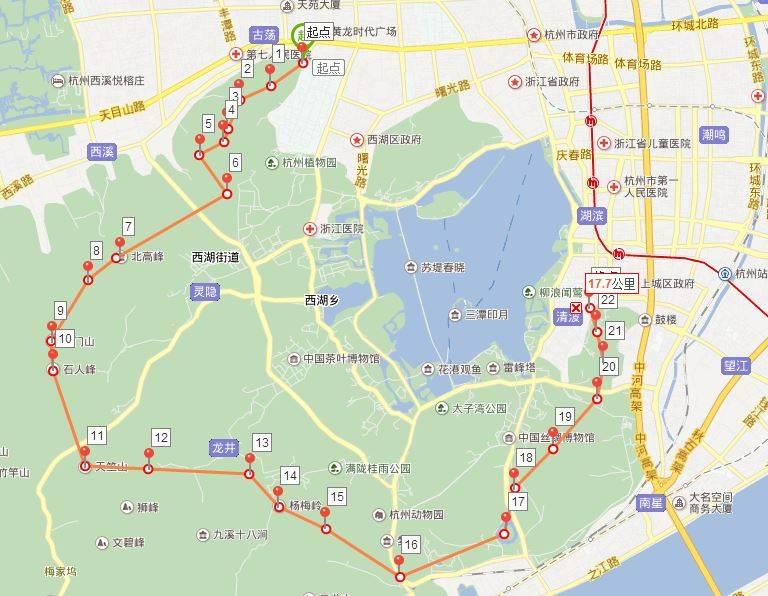 杭州西湖毅行线路:起点  老和山(浙大玉泉校区,图书馆边上小路上山)图片