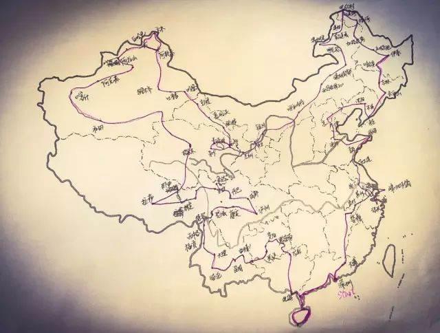 手绘世界地图简图图上制出旅游路线环球航行起点西宁市经过七大洲四