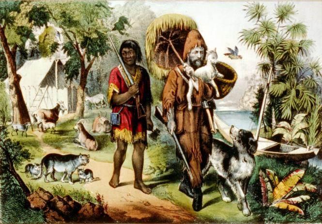 公鲁滨逊因出海遇难,先被海盗攻击,再到种植园,最后漂流到无人小岛