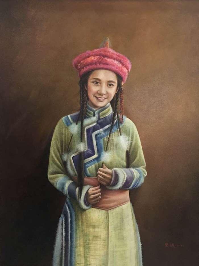 荣斌《蒙古女孩》110x142cm  布面油画 2018年.jpg