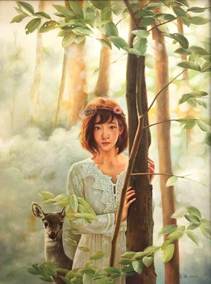 荣斌《丛林中的少女和鹿》132x102cm  布面油画 2019年.jpg