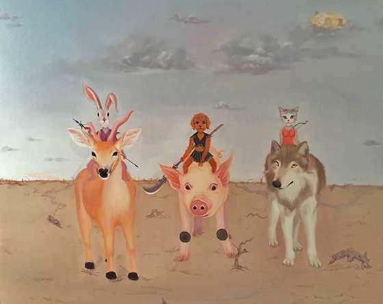 李同法 森林和平会议之三剑客 120×100cm 油画 布面 2016.jpg