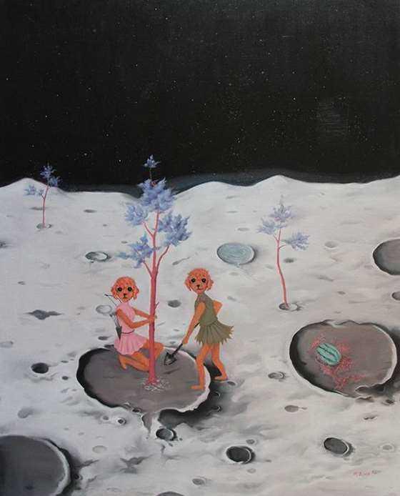 李同法 三月的月球之旅 80×100cm 油画 布面 2017.jpg