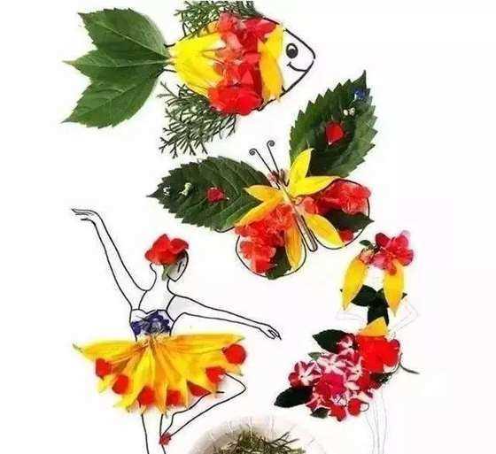 这些萌趣的小动物,也是用树叶粘贴出来的,很神奇吧!