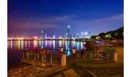 7月1日夜徒深圳湾公园,感受西岸繁华城市夜景,聆听海边潮落潮起